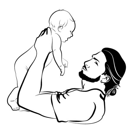 Man with a child. symbol of the young father with the baby in his hands. A black white illustration of a father hugging his baby.  イラスト・ベクター素材