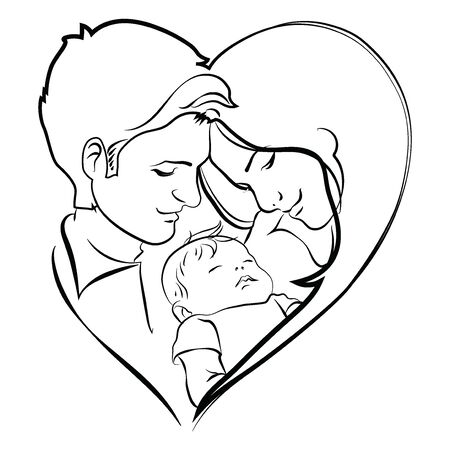 Family with baby. Father and mother hug their child. Black and white symbol of a young family. Linear Art. Tattoo.