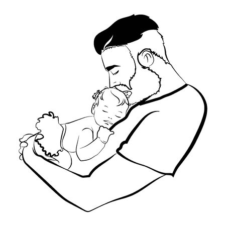Man with a child. design of the young father with the baby in his hands. A black white illustration of a father hugging his baby.   family. Tattoo.