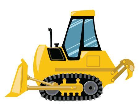 Cartoon bulldozer. Vector illustration of construction machinery. Drawing for children. Ilustrace