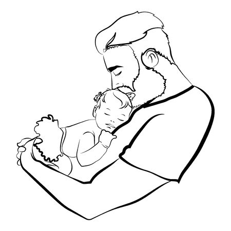 Man with a child. design of the young father with the baby in his hands. A black white illustration of a father hugging his baby. design family. Tattoo. Stock Illustratie