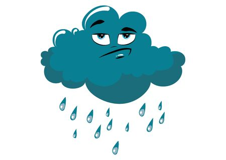 Cartoon cloud with rain. Vector illustration for a weather forecast. Cloud with emotions. Drawing for children.