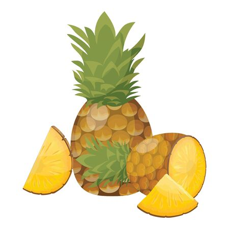 Cartoon pineapple. Fresh vitamin fruit. Juicy sliced fruit. Drawing for children. Illustration on white background.  イラスト・ベクター素材