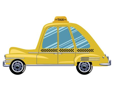 Cartoon retro car taxi. Vector illustration of a yellow taxi. Drawing for children.  イラスト・ベクター素材