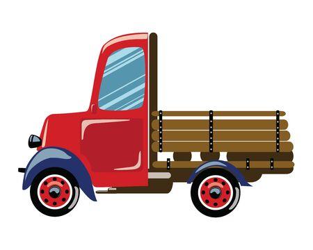 Cartoon retro truck. Vector illustration of a commercial transport. Drawing for children. Ilustração Vetorial
