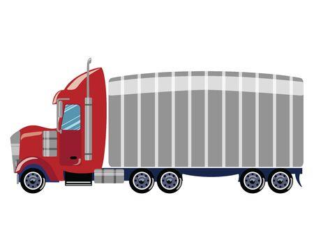 Cartoon truck. Vector illustration of a trailer. Drawing for children. Stock Illustratie