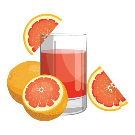 A glass of fresh grapefruit juice. Vitamin refreshing cocktail with fruit.