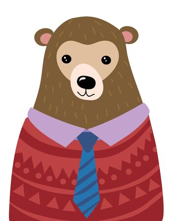 A cartoon portrait of a bear. Stylized grizzly bear in sweater and tie. Art for children. Illustration for greeting card.