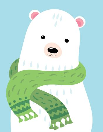 A cartoon portrait of a bear. Stylized polar bear in a scarf. Arctic animals. Art for children. Picture for the postcard. Ilustracja
