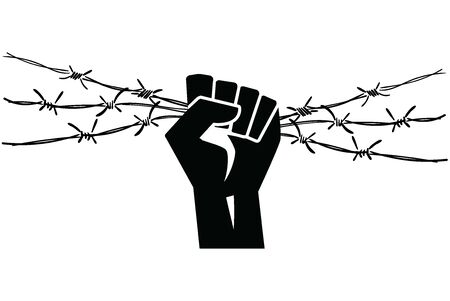 Barbed wire clenched in fist. Barbed wire with hands.
