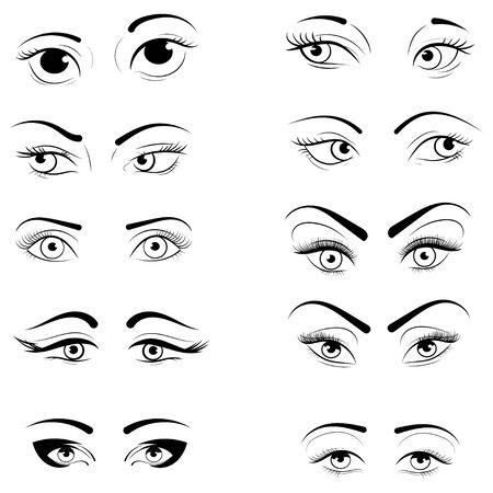 Set of eyelashes. Collection of stylized womens eyes with makeup. design for eyelash extension.
