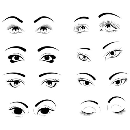 Ensemble de cils. Collection d'yeux féminins stylisés avec du maquillage. conception pour l'extension de cils.