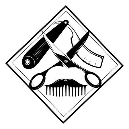 design for the hairdresser. Black and white design for a barbershop. Vector illustration for hairdresser.