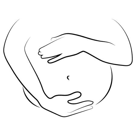 Contour of nude pregnant woman. Outlines of the body of a pregnant girl. Black and white vector illustration. Linear silhouette of a girl figure.