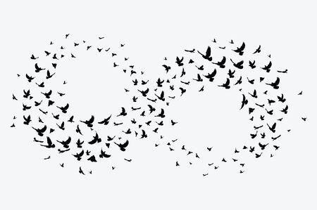 Silhouette of a flock of birds. Black contours of flying birds. Flying pigeons. Tattoo. 矢量图像