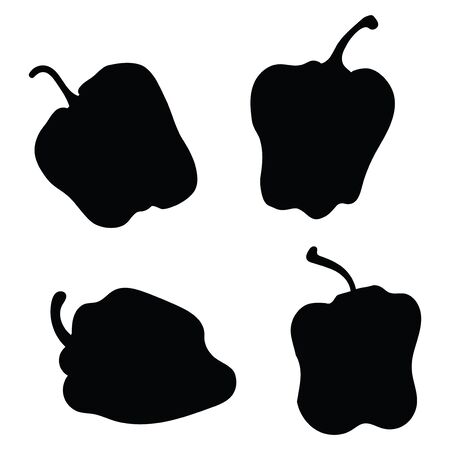Set of vector silhouettes of lettuce peppers. Collection of black silhouettes of vegetables. Stylized plants.