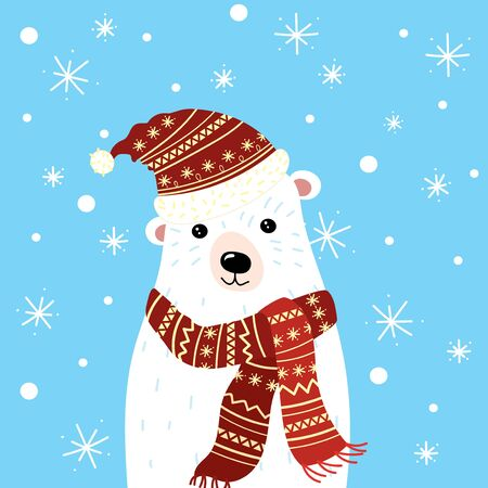 Christmas illustration of a polar bear in a hat and scarf. A polar bear in the snow. Picture for the postcard. Illustration for children. New Year.