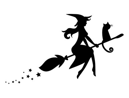 Black silhouette of a witch flying on a broomstick. Silhouette for the Halloween. Mystical illustration. Vector outline of a witch. Vettoriali