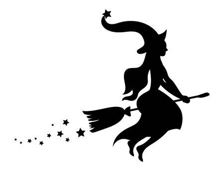 Zwart silhouet van een heks die op een bezemsteel vliegt. Silhouet voor Halloween. Mystieke illustratie. Vectoroverzicht van een heks. Vector Illustratie