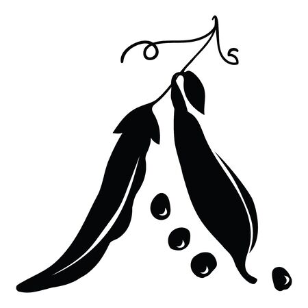 Black silhouette of peas. Illustration of a stylized edible plant. Bean plant.