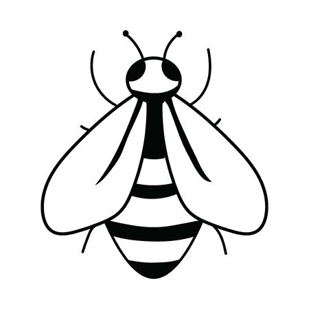 design of the bee. Black and white bee icon. Vector illustration with scabs. Stylized insect. Ilustração