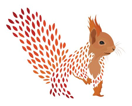 Cartoon squirrel. Stylized redhead protein. Colored Vector illustration. Tattoo.