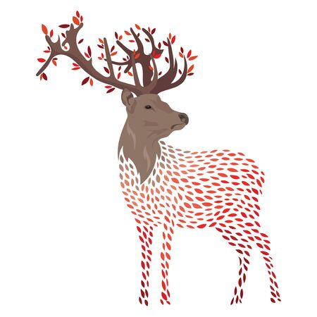 Cartoon deer. Stylized wild deer with horns. Colored Vector illustration. Tattoo. Ilustrace