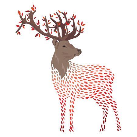 Cartoon deer. Stylized wild deer with horns. Colored Vector illustration. Tattoo. Иллюстрация