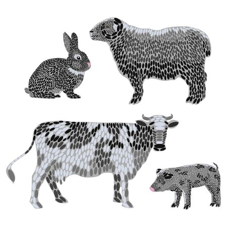 Set of stylized farm animals. Collection of cartoon meat animals. Vector illustration for children.