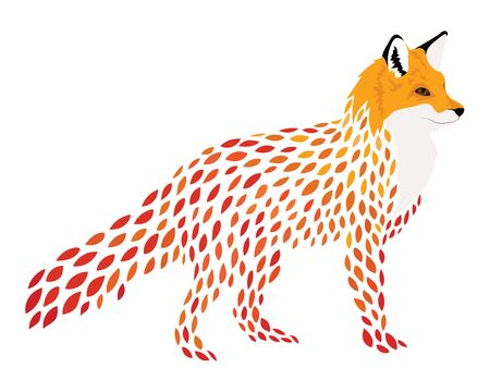 Cartoon fox. Stylized fox. Vector illustration of a wild animal. Forest predator.