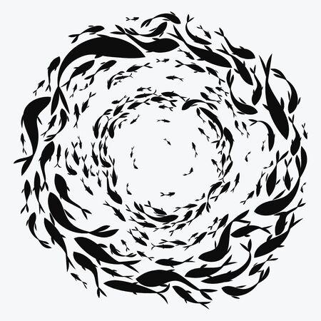 École de poisson. Un groupe de poissons silhouettes nagent en cercle. La vie marine. Illustration vectorielle