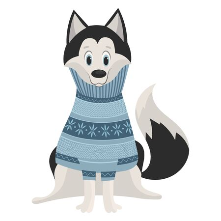 Cartoon Husky. Cute husky in a sweater. Vector illustration for kids. Puppy dog in a sweater.