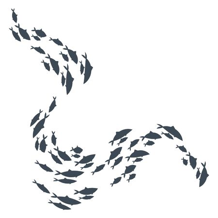 Colored silhouettes of groups of sea fishes. Colony of small fish. Icon with river inhabitants