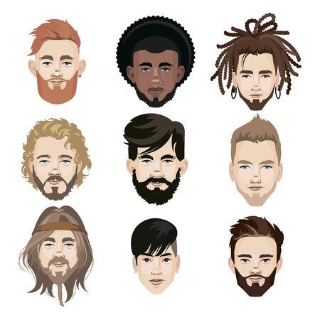 Ensemble d'hommes de différentes nationalités. Collection de portraits de mecs du monde entier. Illustration des visages des gars. Vecteurs