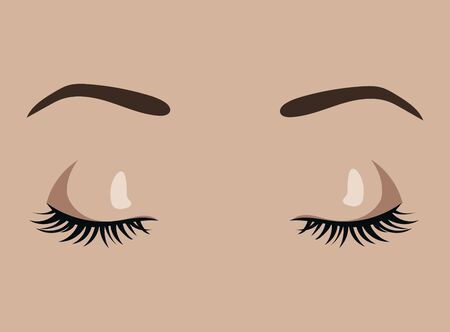 Female eyes closed. Sleeping girl. Beautiful eyes with pinched eyelashes and elegant eyebrows. Eyebrow tattoo. Facial care. Illustration for a beauty salon. Иллюстрация