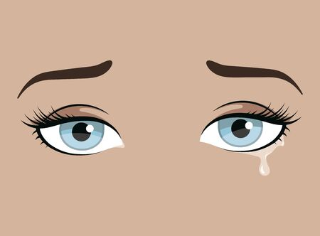 Female eyes with emotion. Look of the girl. Beautiful blue eyes with lashes and elegant eyebrows. Eyebrow tattoo. Facial care. Illustration for a beauty salon. Иллюстрация