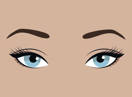 Yeux féminins avec émotion. Regard de la fille. De beaux yeux bleus avec des cils et des sourcils élégants. Tatouage de sourcil. Illustration pour un salon de beauté.