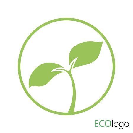 Logo der Landwirtschaft. Logo mit einer jungen Pflanze. Stilisiertes Öko-Logo mit Sprössling.