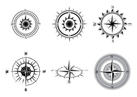 Collection of the compass. Stylized sea compasses with a wind rose. Measuring device.