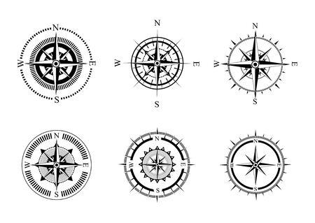 Raccolta di simboli della bussola. Bussole di mare stilizzate con una rosa dei venti. Dispositivo di misurazione.