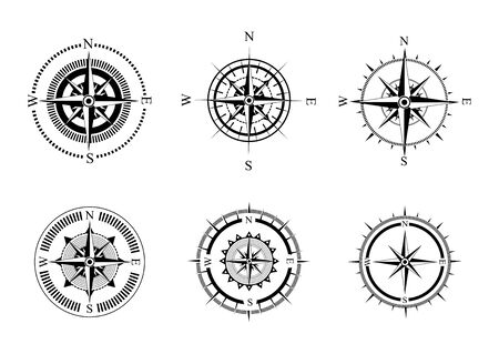 Zbiór symboli kompasu. Stylizowane kompasy morskie z różą wiatrów. Urządzenie pomiarowe.