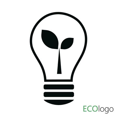 Logo of green energy. Logo with sprout and electricity. Stylized eco logo biofuel.