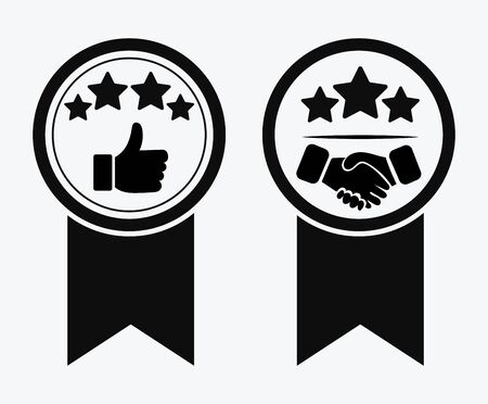 A sign of premium class. Medal with a star and ribbon. Mark of distinction. Black and white quality symbol. Vector illustration of medal icons. Reward for the first place. Vektoros illusztráció