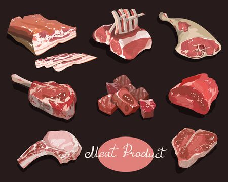 Vector set of cartoon food. Collection of stylized raw meat. Sliced assortment of fresh meat. Pork steaks and tenderloin. Isolated objects on a black background.  イラスト・ベクター素材