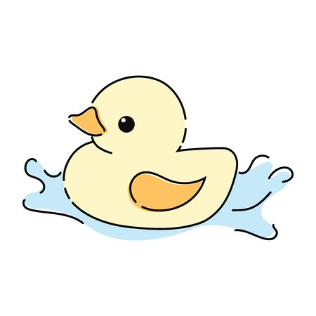 Cartoon yellow duckling. Toy duckling for the bathroom. Drawing for children.