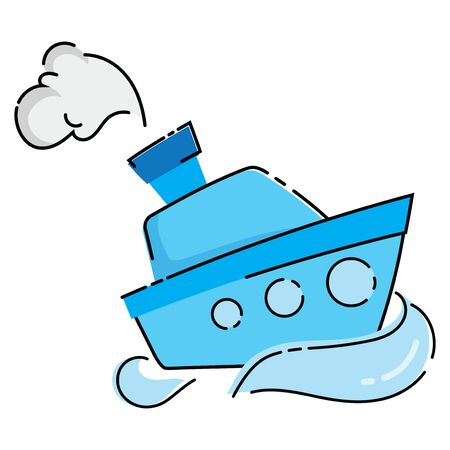 Cartoon boat. Vector illustration of a water transport. Drawing of the ship for children. Иллюстрация