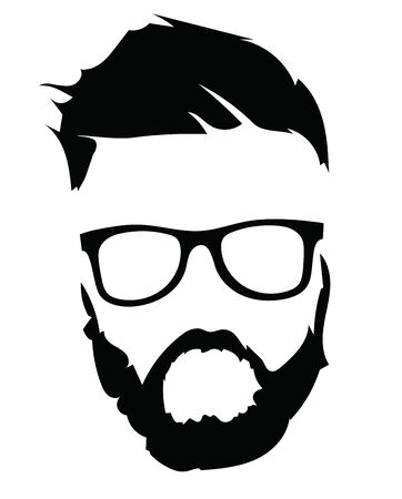 Portrait of a man in glasses with a beard. Illustration for a hairdresser.