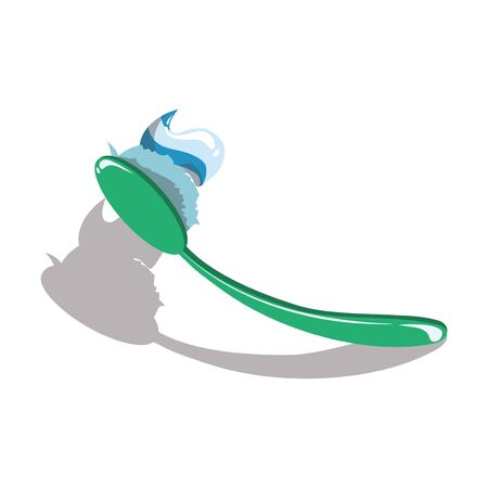 Cartoon toothbrush with toothpaste. Illustration for dental clinics. Drawing for children. Standard-Bild - 130654229