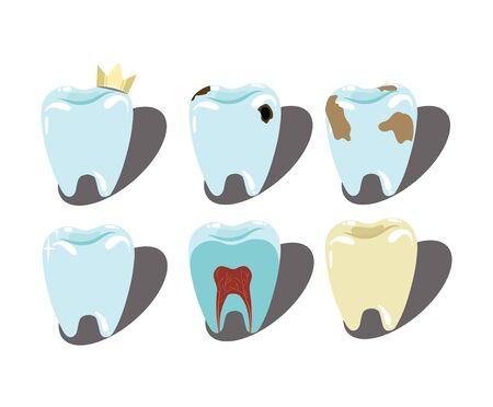 Cartoon set of teeth. A collection of patients and healthy teeth for a dental clinic. Drawing for children.