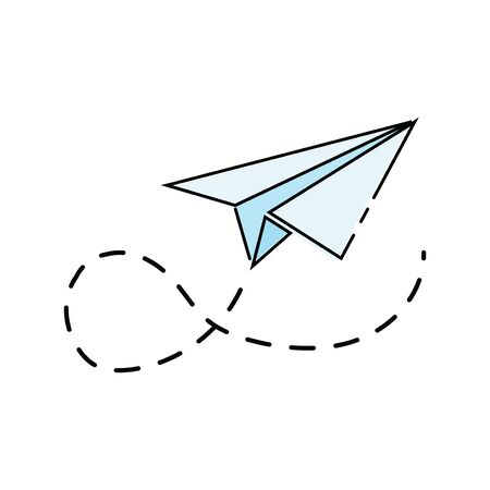 Cartoon paper airplane. icon of the aircraft made of paper. Illustration for children. Иллюстрация